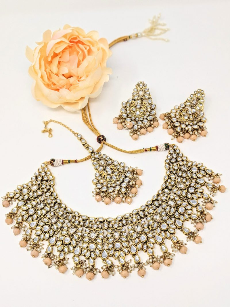 Peach Paan Necklace Set - East Boutique