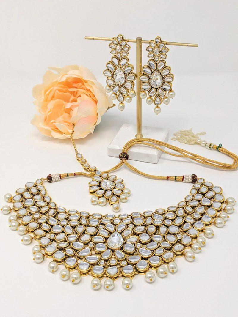 Golden Kundani Necklace Set - East Boutique