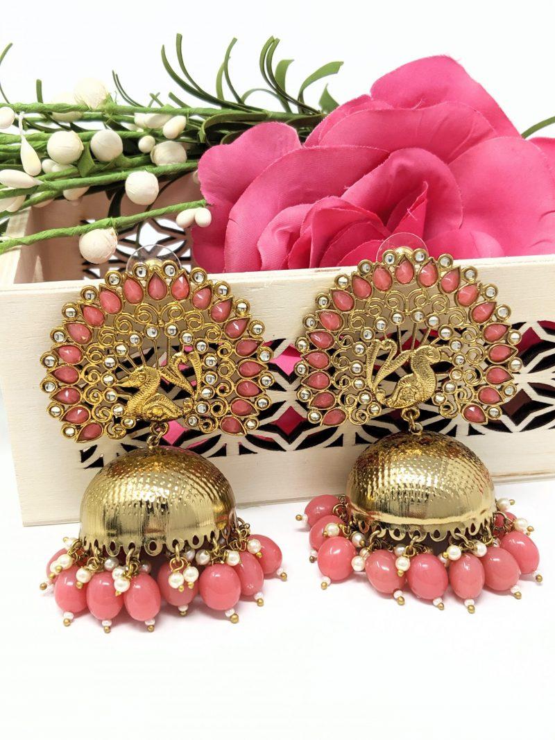 Pink Mayu Jhumki Earrings - East Boutique