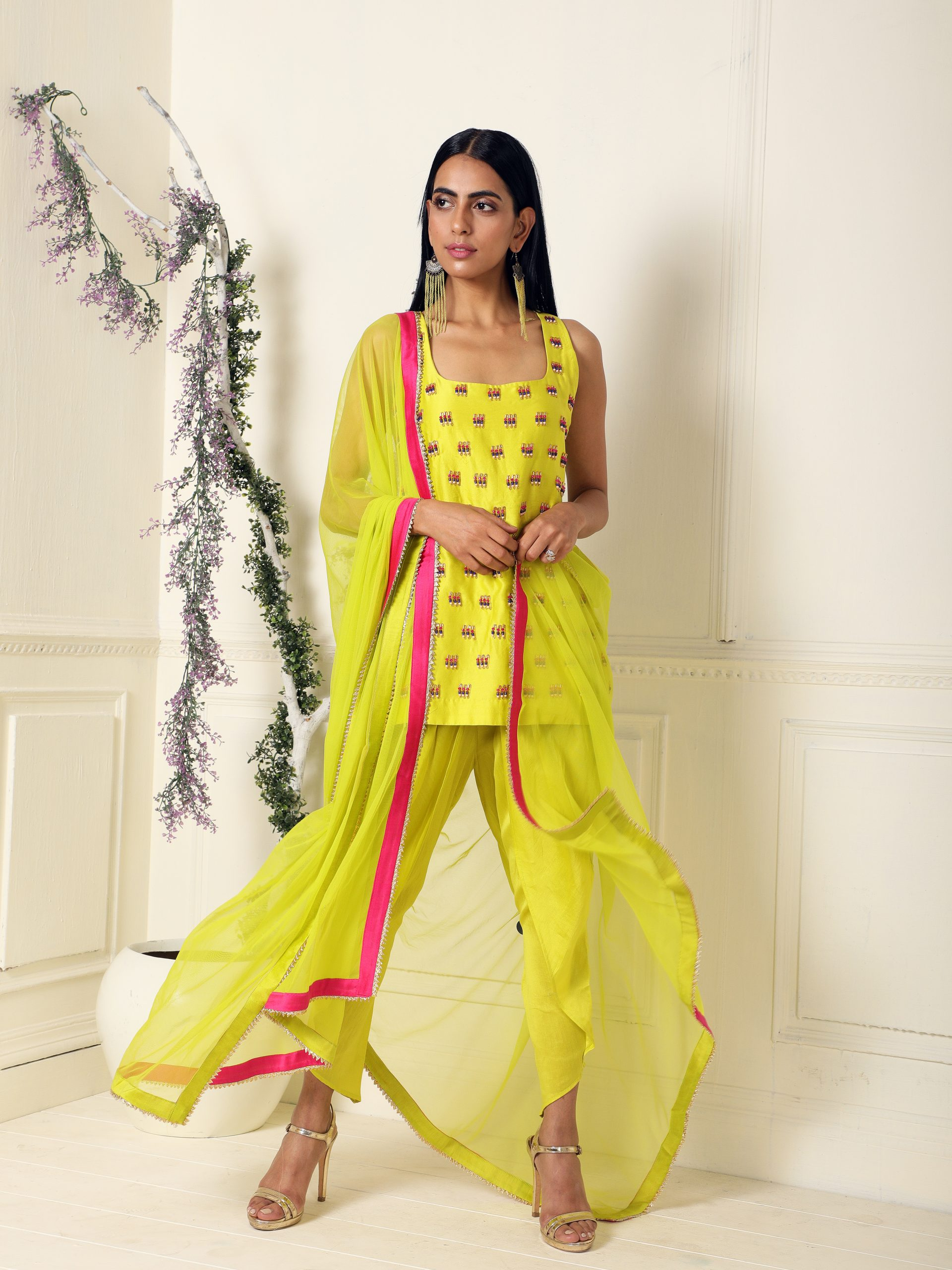 Lime Beaded Kurta and Dhoti Set - East Boutique