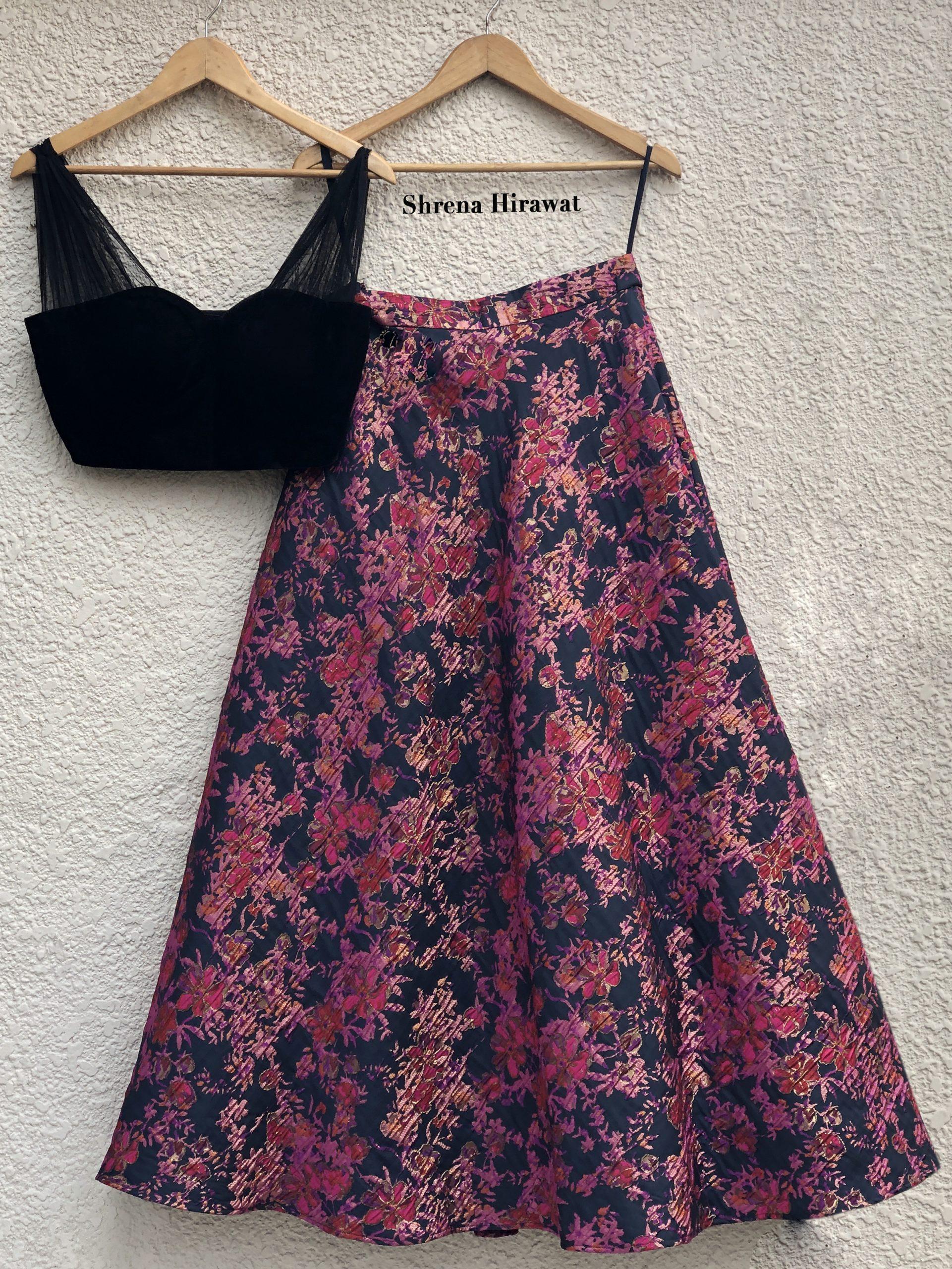 Black Velvet Blouse With Hot Pink Skirt East Boutique